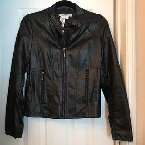 Max Studio Black Leather Jacket Size Small